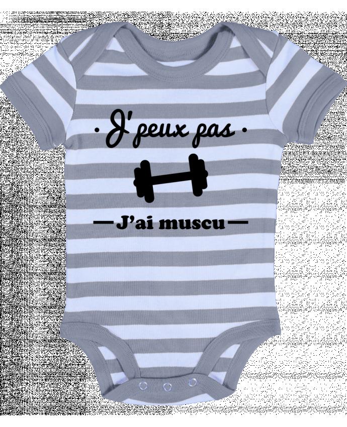 Body Bebé a Rayas J'peux pas j'ai muscu, musculation - Benichan