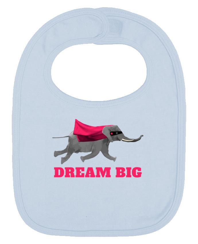 Babero Liso y Contrastado Dream big éléphant por justsayin