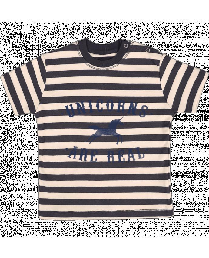 Camiseta Bebé a Rayas Unicorns are real por Florent Bodart