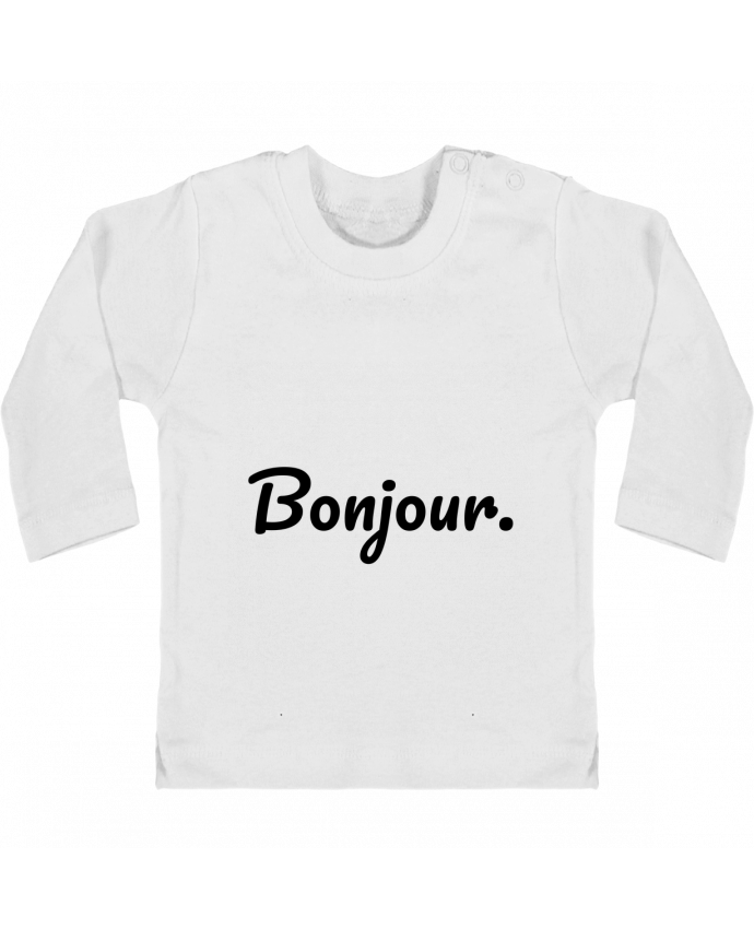 Camiseta Bebé Manga Larga con Botones  Bonjour. manches longues du designer tunetoo