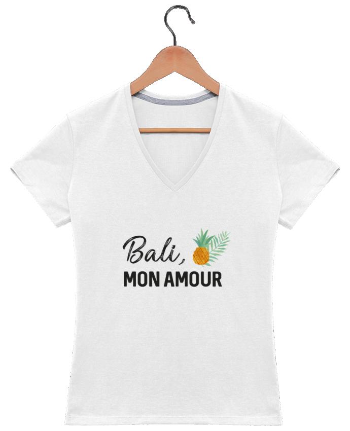 Camiseta Mujer Cuello en V Bali, mon amour por IDÉ'IN