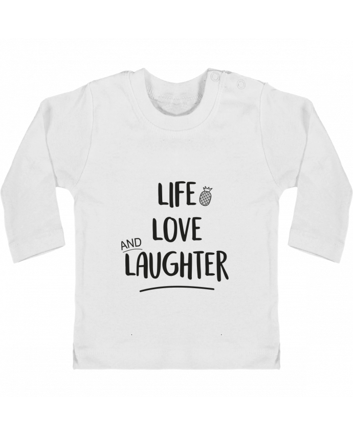 Camiseta Bebé Manga Larga con Botones  Life, love and laughter... manches longues du designer IDÉ'IN