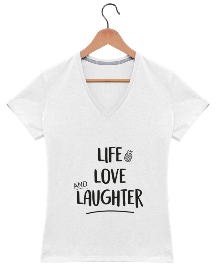Camiseta Mujer Cuello en V Life, love and laughter... por IDÉ