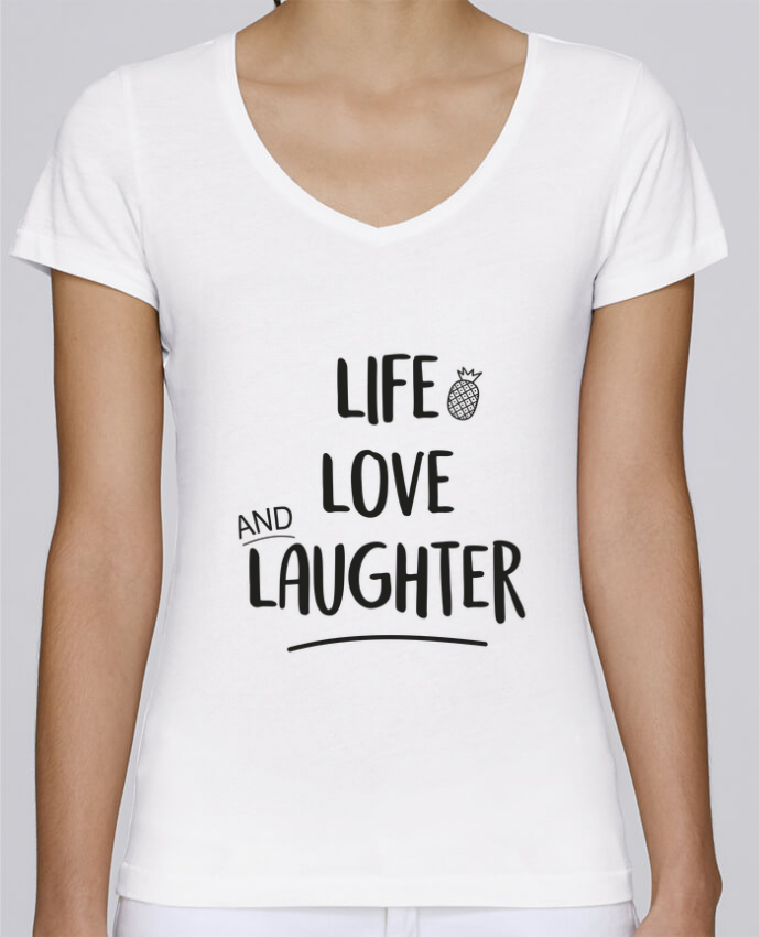 Camiseta Mujer Cuello en V Stella Chooses Life, love and laughter... por IDÉ
