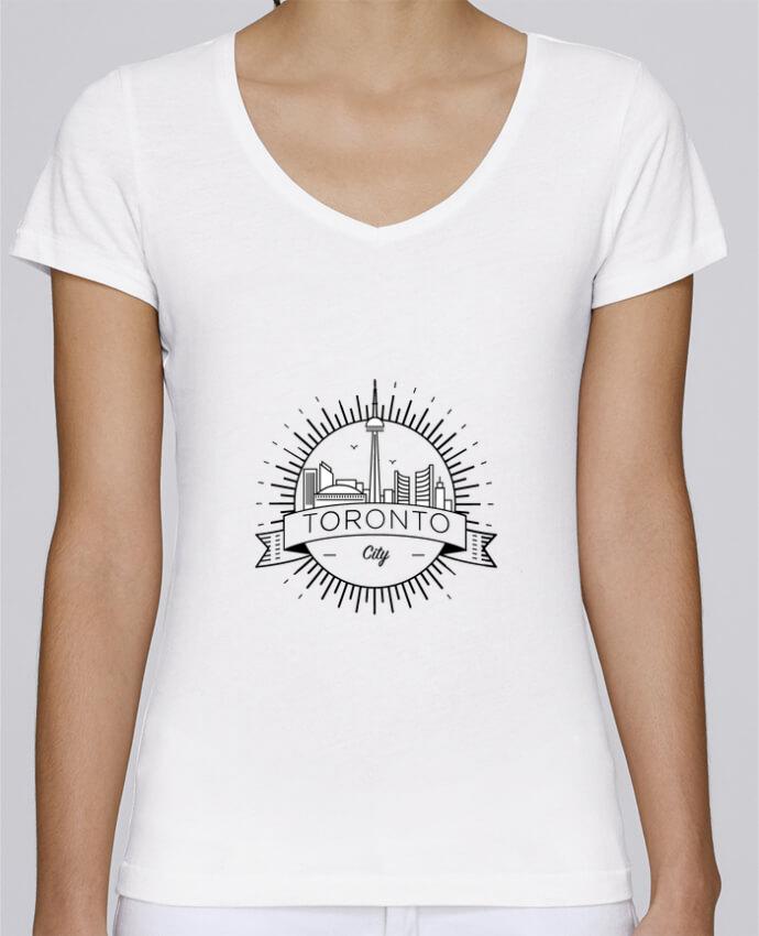 Camiseta Mujer Cuello en V Stella Chooses Toronto City por Likagraphe
