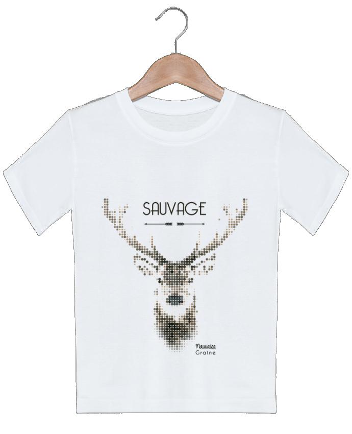 T-shirt garçon motif Tête de cerf sauvage Mauvaise Graine