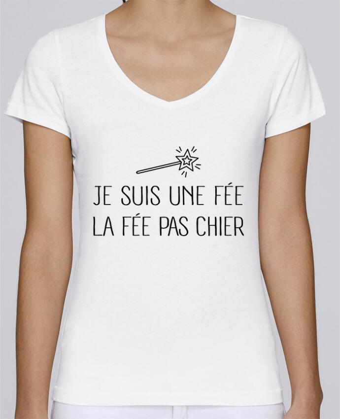 Camiseta Mujer Cuello en V Stella Chooses Je suis une fée la fée pas chier por Freeyourshirt.com