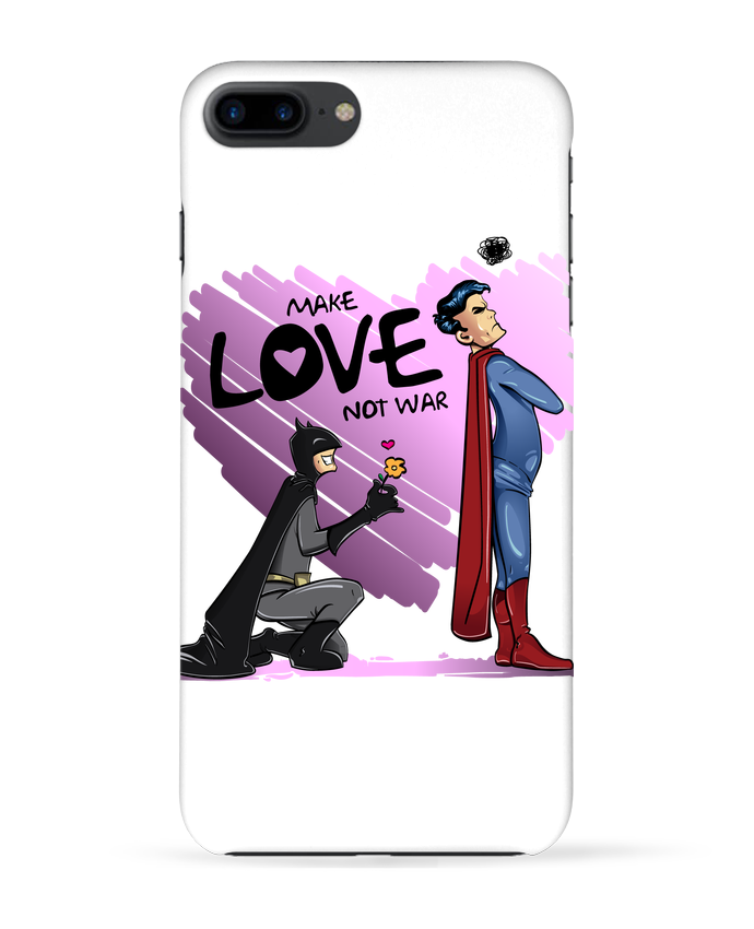 Carcasa Iphone 7+ MAKE LOVE NOT WAR (BATMAN VS SUPERMAN) por teeshirt-design.com