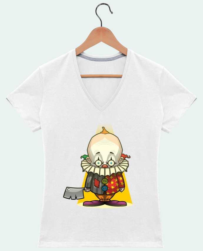 Camiseta Mujer Cuello en V Choppy Clown por SirCostas