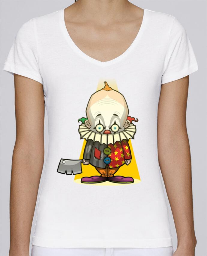 Camiseta Mujer Cuello en V Stella Chooses Choppy Clown por SirCostas