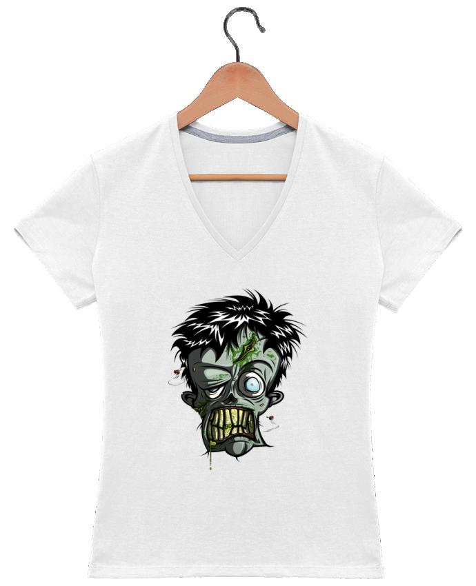 Camiseta Mujer Cuello en V Toxic Zombie por SirCostas