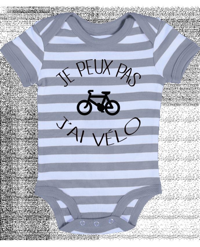 Body Bebé a Rayas Je peux pas j'ai vélo - Freeyourshirt.com