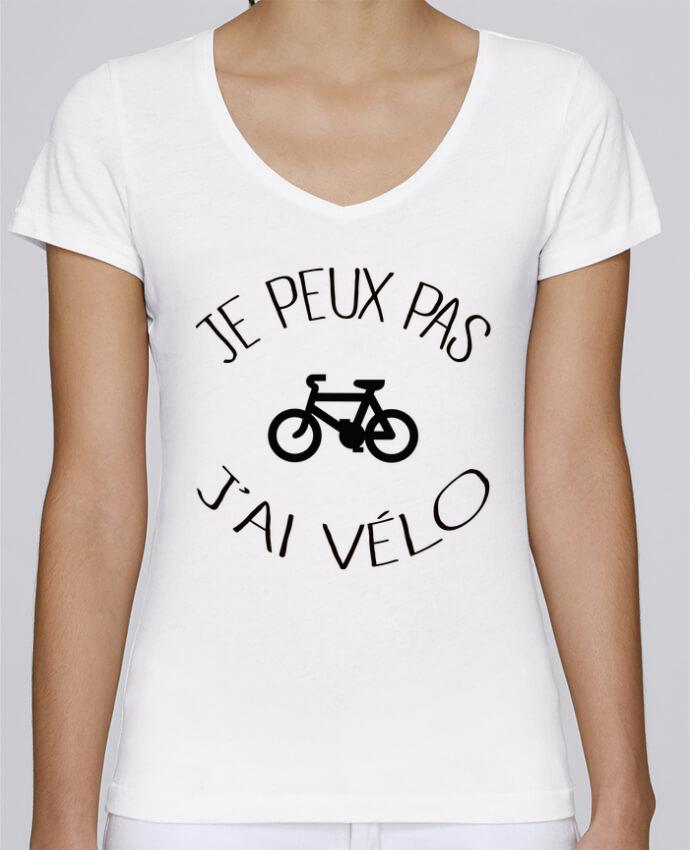 Camiseta Mujer Cuello en V Stella Chooses Je peux pas j'ai vélo por Freeyourshirt.com