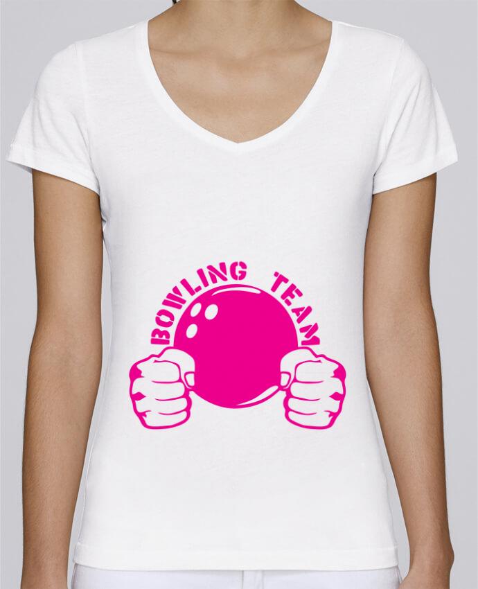 Camiseta Mujer Cuello en V Stella Chooses bowling team poing fermer logo club por Achille