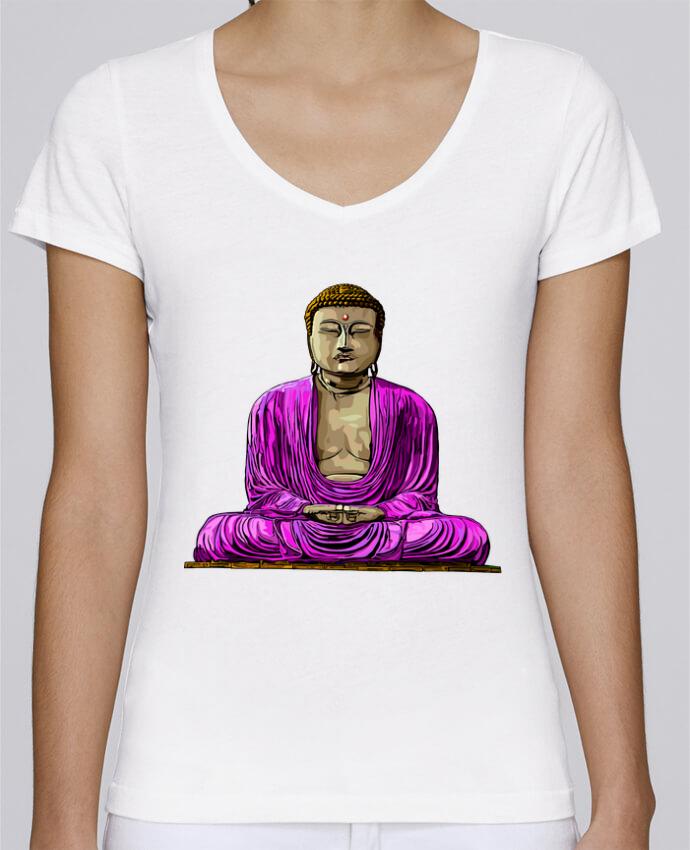 Camiseta Mujer Cuello en V Stella Chooses Bouddha Pop por Numartis