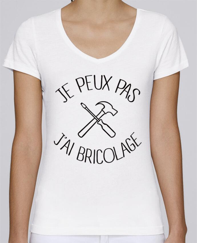 Camiseta Mujer Cuello en V Stella Chooses Je peux pas j'ai Bricolage por Freeyourshirt.com