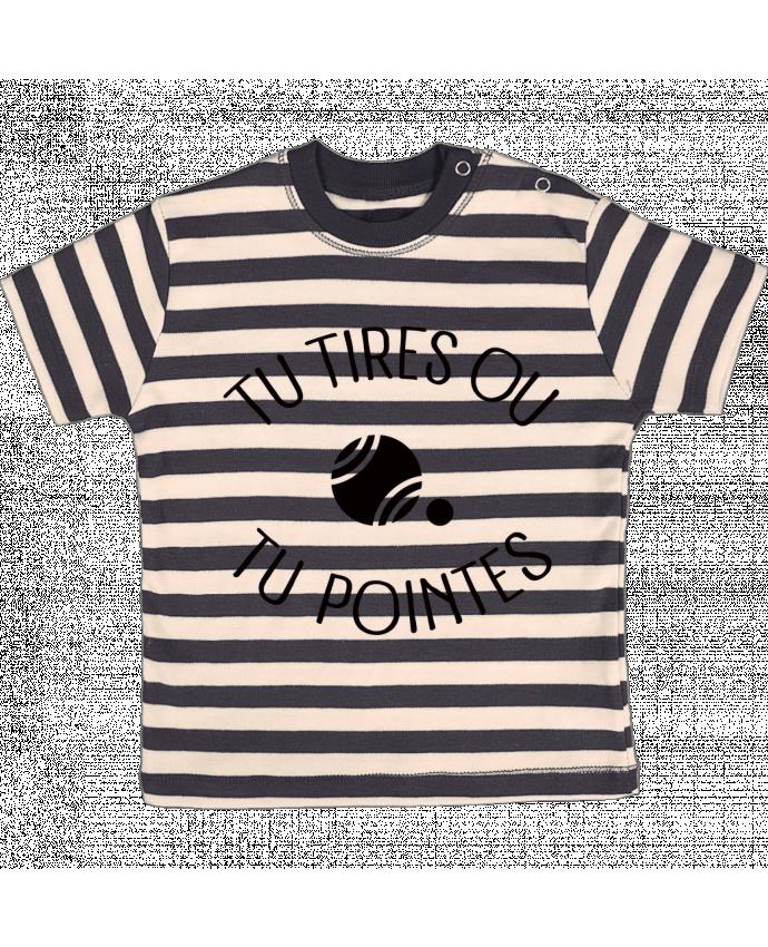 Camiseta Bebé a Rayas Tu Tires Ou Tu Pointes por Freeyourshirt.com