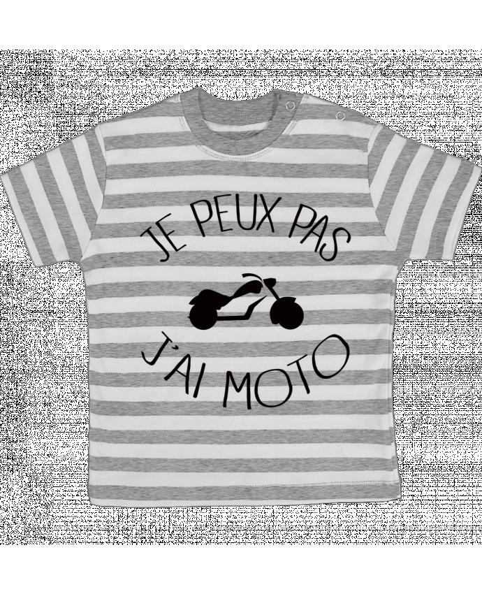 Camiseta Bebé a Rayas Je Peux Pas J'ai Moto por Freeyourshirt.com
