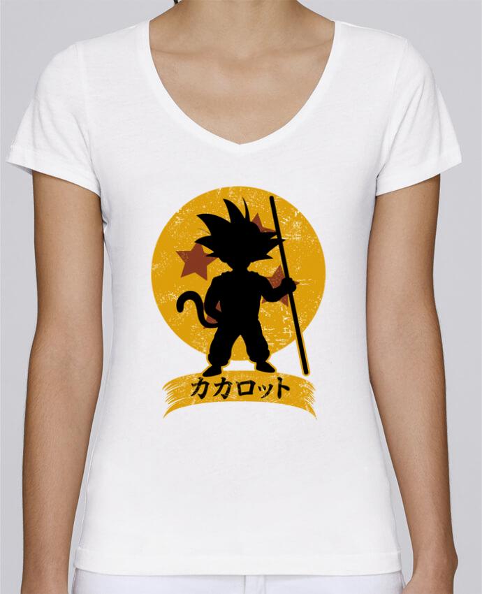 Camiseta Mujer Cuello en V Stella Chooses Kakarrot Crest por Kempo24