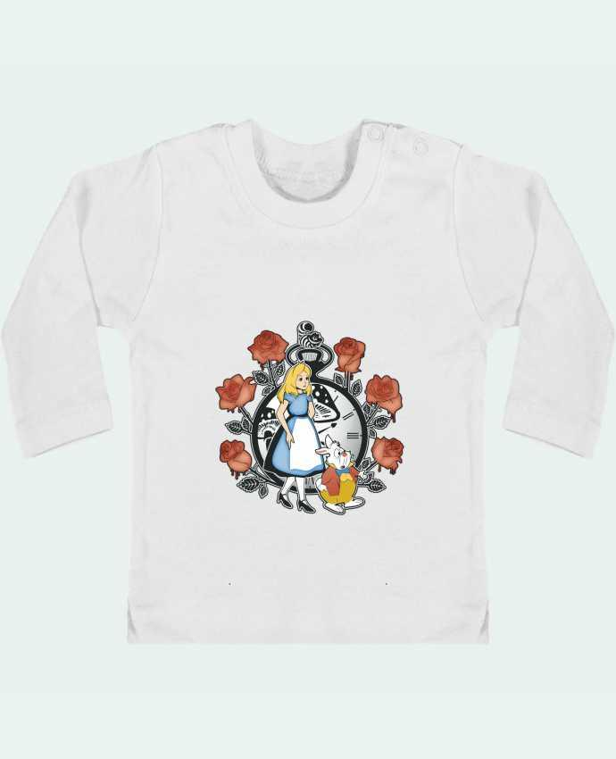 Camiseta Bebé Manga Larga con Botones  Time for Wonderland manches longues du designer Kempo24