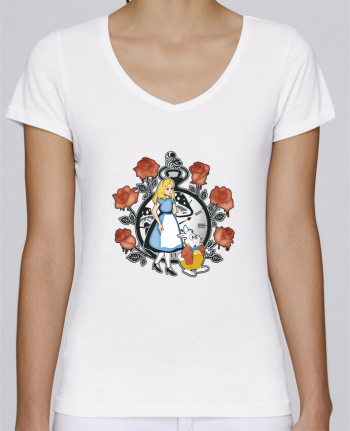 Camiseta Mujer Cuello en V Stella Chooses Time for Wonderland por Kempo24