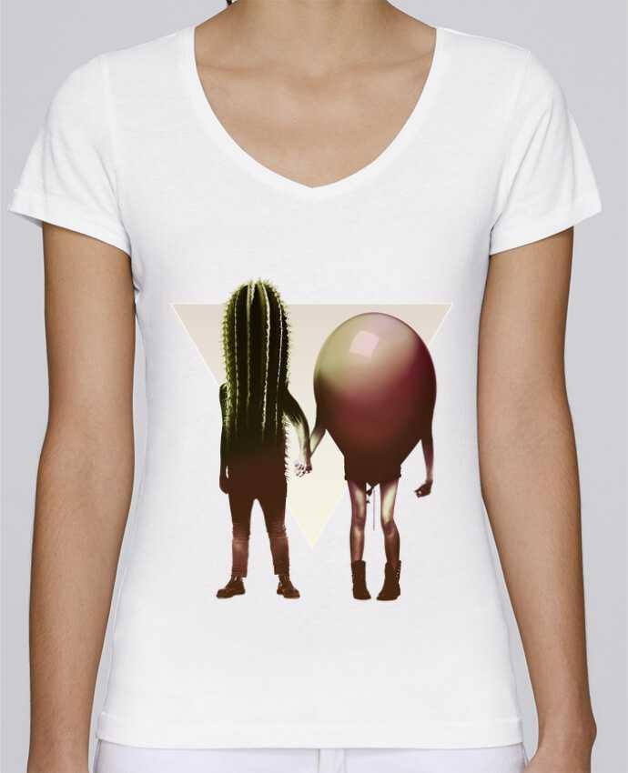 Camiseta Mujer Cuello en V Stella Chooses Couple Hori por ali_gulec
