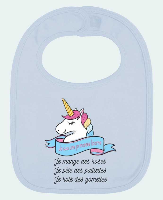 Babero Liso y Contrastado Je suis une princesse licorne por tunetoo