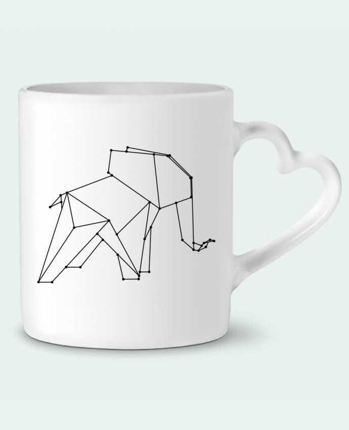 Taza Corazón Origami elephant por /wait-design