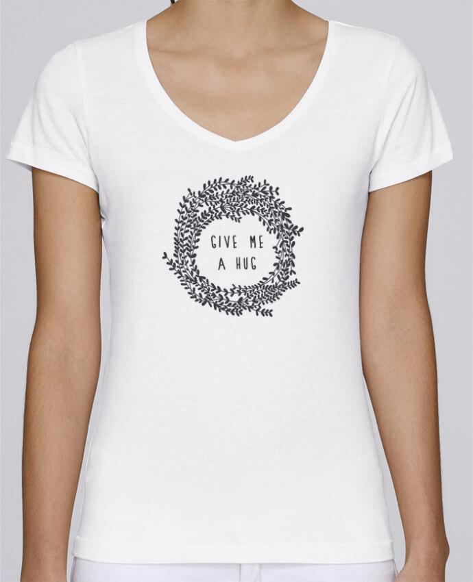 Camiseta Mujer Cuello en V Stella Chooses Give me a hug por Les Caprices de Filles