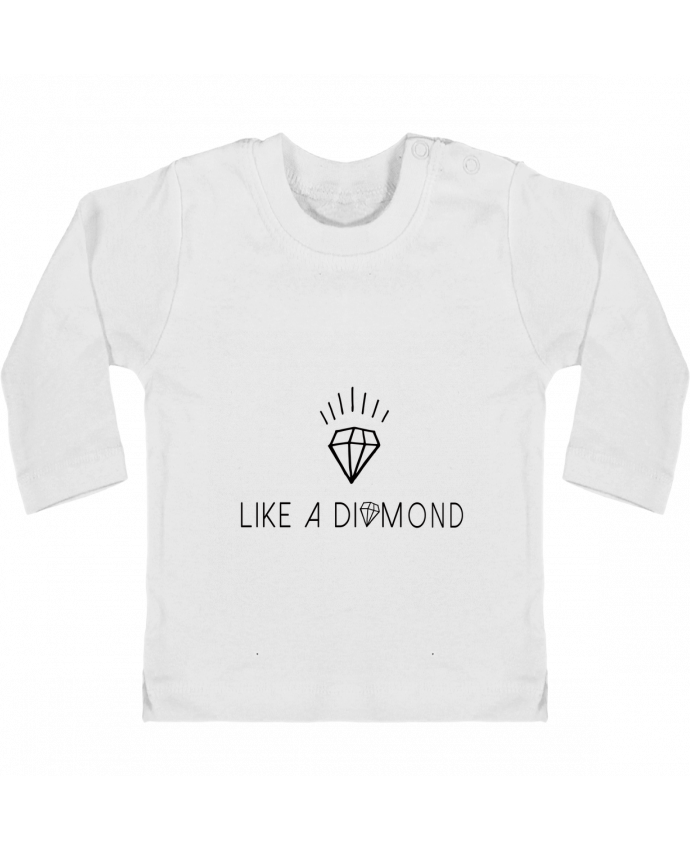 Camiseta Bebé Manga Larga con Botones  Like a diamond manches longues du designer Les Caprices de Filles