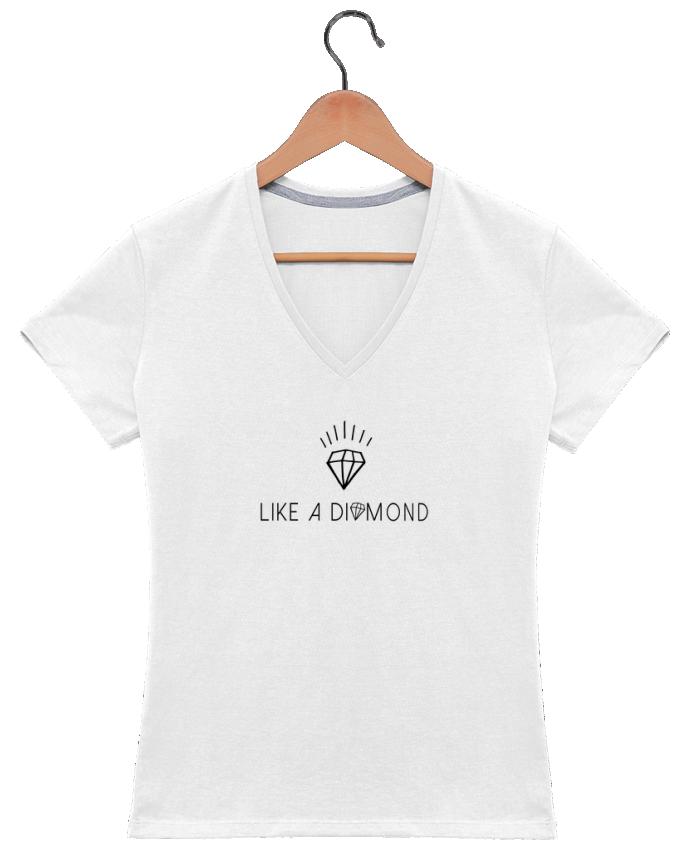 Camiseta Mujer Cuello en V Like a diamond por Les Caprices de Filles