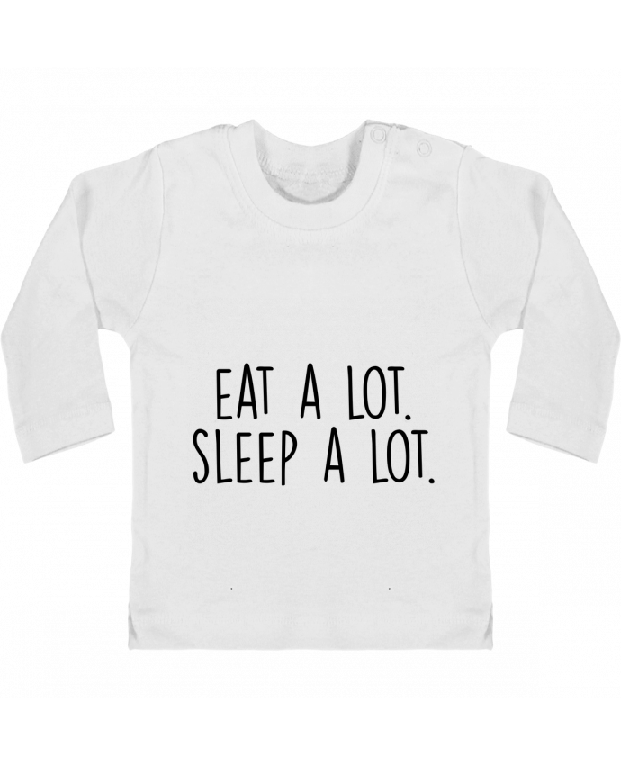 Camiseta Bebé Manga Larga con Botones  Eat a lot. Sleep a lot. manches longues du designer Bichette