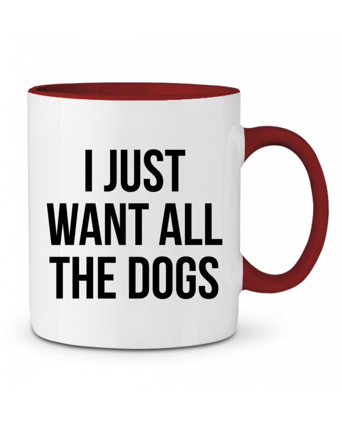 Taza Cerámica Bicolor I just want all dogs Bichette