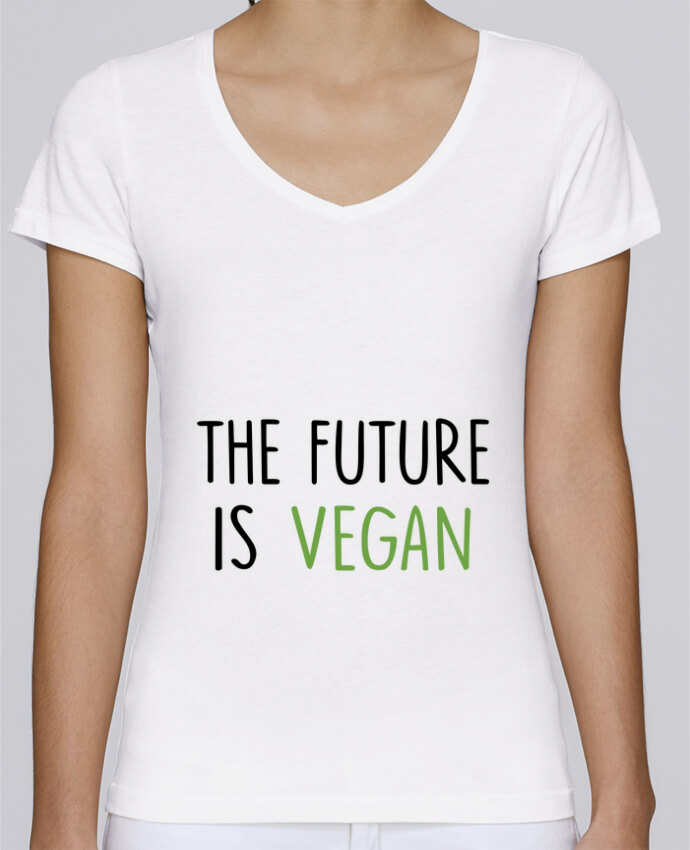 Camiseta Mujer Cuello en V Stella Chooses The future is vegan por Bichette