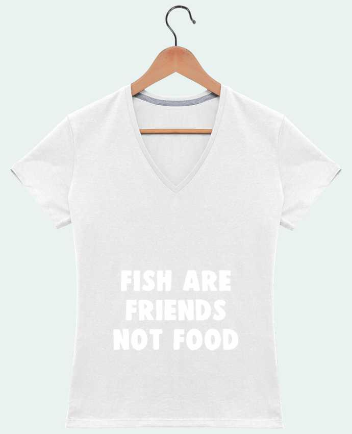 Camiseta Mujer Cuello en V Fish are firends not food por Bichette