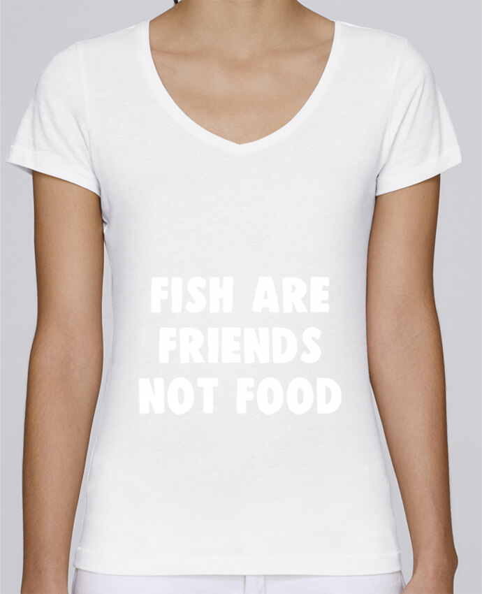 Camiseta Mujer Cuello en V Stella Chooses Fish are firends not food por Bichette