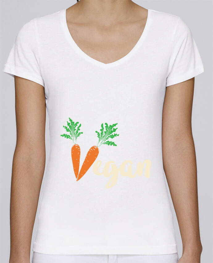 Camiseta Mujer Cuello en V Stella Chooses Vegan carrot por Bichette
