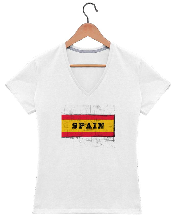 Camiseta Mujer Cuello en V Drapeau espagnol por Les Caprices de Filles