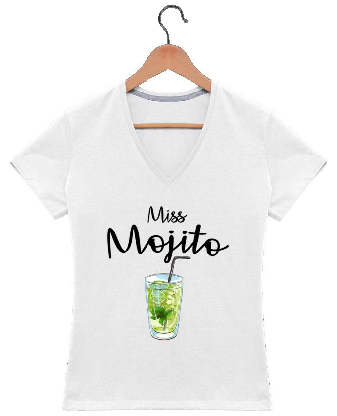 Camiseta Mujer Cuello en V Miss Mojito por FRENCHUP-MAYO