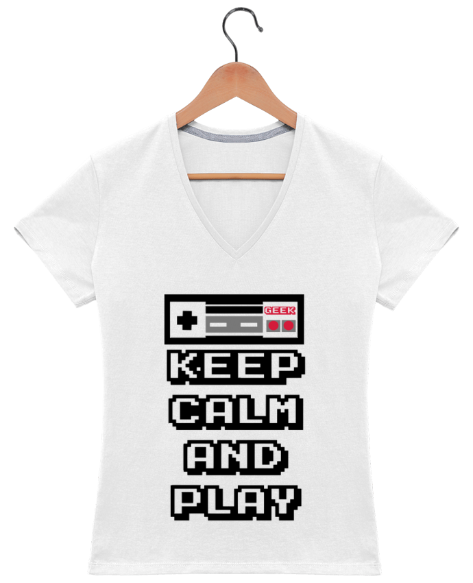 Camiseta Mujer Cuello en V KEEP CALM AND PLAY por SG LXXXIII