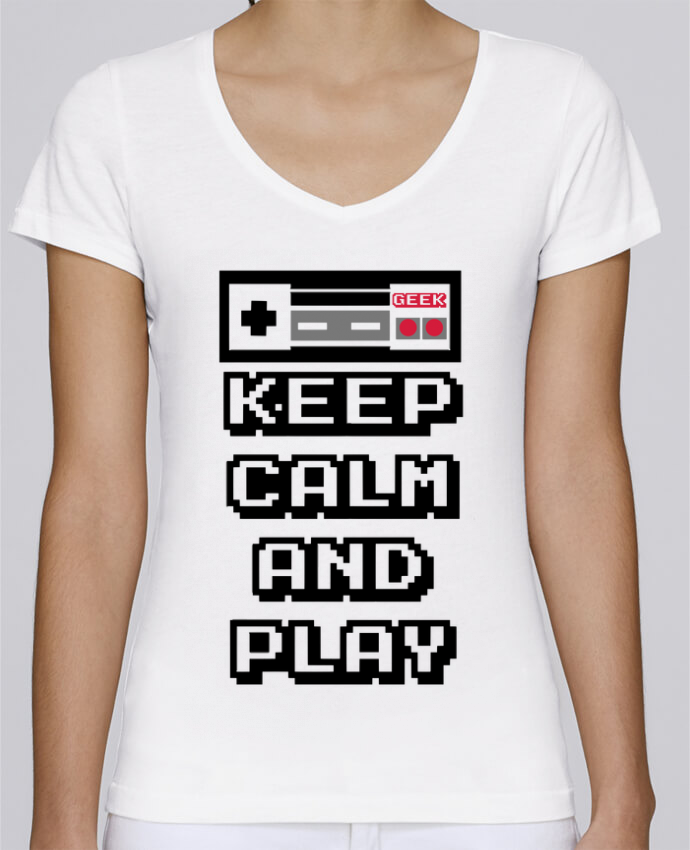 Camiseta Mujer Cuello en V Stella Chooses KEEP CALM AND PLAY por SG LXXXIII