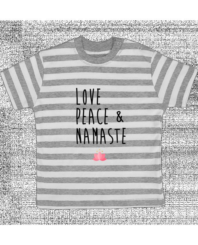 Camiseta Bebé a Rayas Love, Peace & Namaste por tunetoo