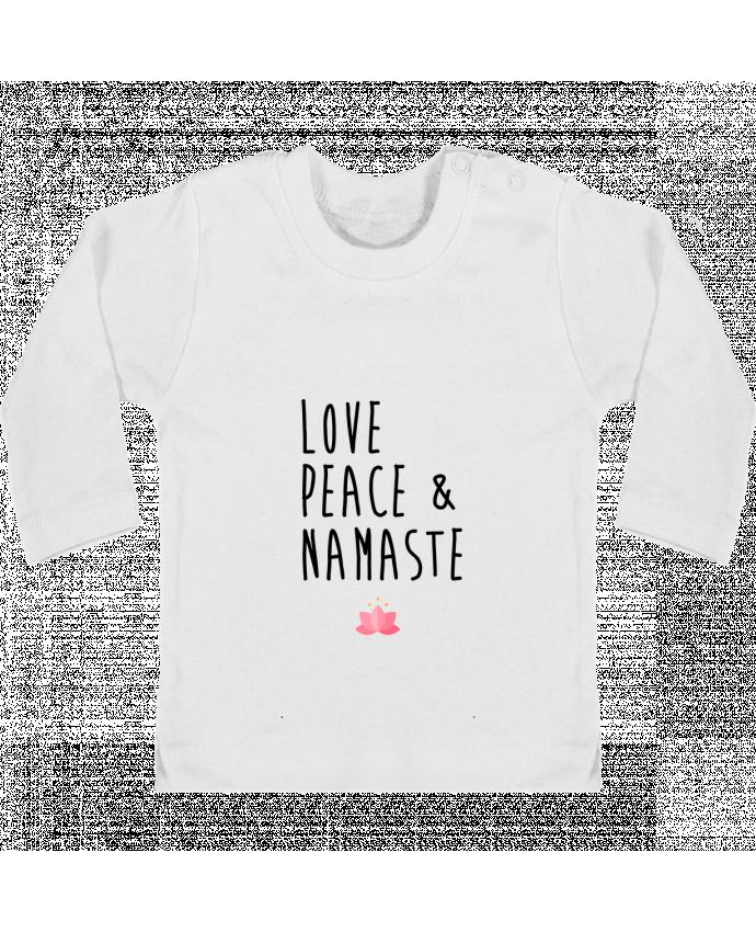 Camiseta Bebé Manga Larga con Botones  Love, Peace & Namaste manches longues du designer tunetoo
