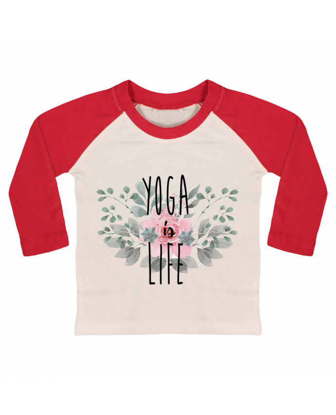 Camiseta Bebé Béisbol Manga Larga Yoga is life por tunetoo