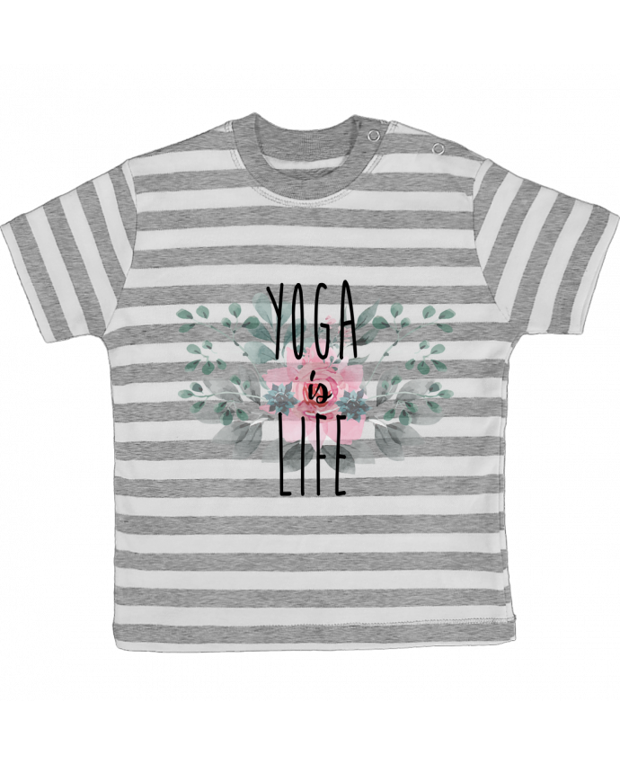 Camiseta Bebé a Rayas Yoga is life por tunetoo
