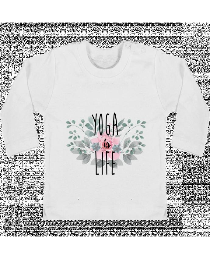 Camiseta Bebé Manga Larga con Botones  Yoga is life manches longues du designer tunetoo