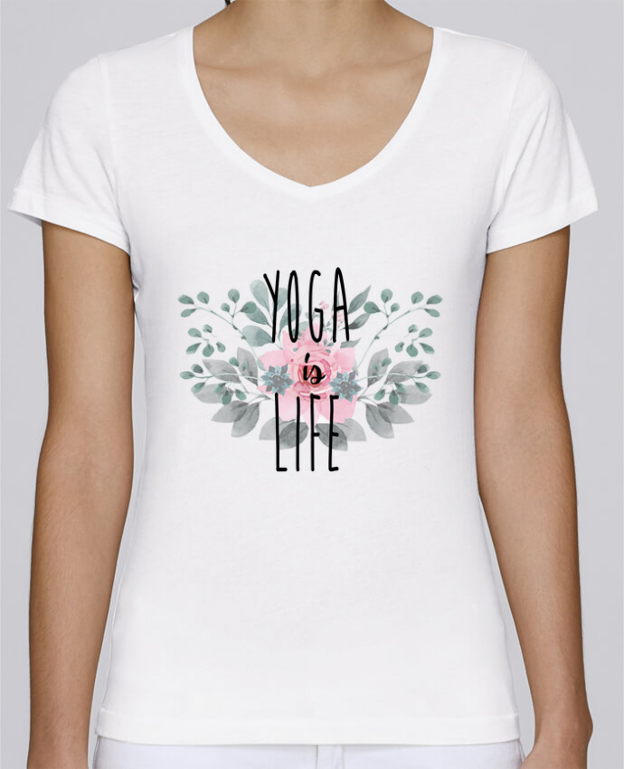 Camiseta Mujer Cuello en V Stella Chooses Yoga is life por tunetoo