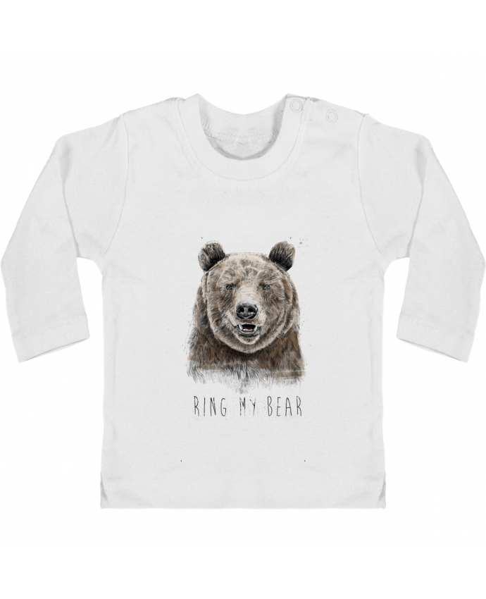 Camiseta Bebé Manga Larga con Botones  Ring my bear manches longues du designer Balàzs Solti