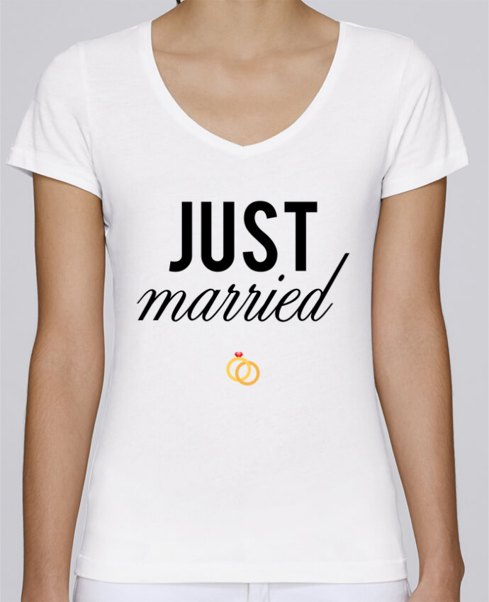 Camiseta Mujer Cuello en V Stella Chooses Just married por tunetoo