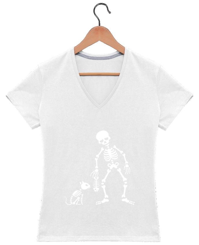 Camiseta Mujer Cuello en V Cats like fish por LaundryFactory